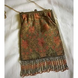 Vintage Metal-like Material with beads on Fringe